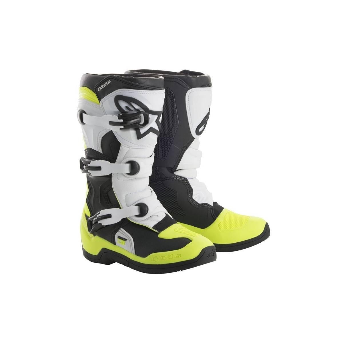 Botas alpinestars tech3s junior negra/blanca/amarillo flúor